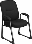 HERCULES Series Big & Tall 400 lb. Rated Black Fabric Executive Side Chair with Sled Base [WL-738AV-BK-GG]