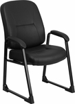 HERCULES Series Big & Tall 400 lb. Rated Black Leather Executive Side Chair with Sled Base [WL-738AV-LEA-GG]