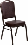 HERCULES Series Crown Back Stacking Banquet Chair in Brown Vinyl - Copper Vein Frame [FD-C01-COPPER-BRN-VY-GG]