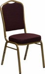 HERCULES Series Crown Back Stacking Banquet Chair in Burgundy Patterned Fabric - Gold Frame [FD-C01-ALLGOLD-EFE1679-GG]
