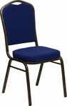 HERCULES Series Crown Back Stacking Banquet Chair in Navy Blue Patterned Fabric - Gold Vein Frame [FD-C01-GOLDVEIN-208-GG]