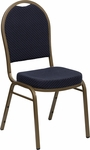 HERCULES Series Dome Back Stacking Banquet Chair in Navy Patterned Fabric - Gold Frame [FD-C03-ALLGOLD-H203774-GG]