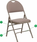 HERCULES Series Ultra-Premium Triple Braced Beige Fabric Metal Folding Chair with Easy-Carry Handle [HA-MC705AF-3-BGE-GG]