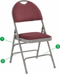HERCULES Series Ultra-Premium Triple Braced Burgundy Fabric Metal Folding Chair with Easy-Carry Handle [HA-MC705AF-3-BY-GG]