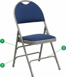 HERCULES Series Ultra-Premium Triple Braced Navy Fabric Metal Folding Chair with Easy-Carry Handle [HA-MC705AF-3-NVY-GG]