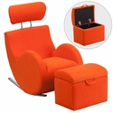 HERCULES Series Orange Fabric Rocking Chair with Storage Ottoman