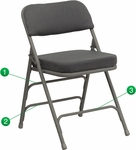 HERCULES Series Premium Curved Triple Braced & Double Hinged Gray Fabric Metal Folding Chair [HA-MC320AF-GRY-GG]