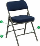 HERCULES Series Premium Curved Triple Braced & Double Hinged Navy Fabric Metal Folding Chair [HA-MC320AF-NVY-GG]