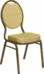 HERCULES Series Teardrop Back Stacking Banquet Chair in Beige Patterned Fabric - Gold Frame [FD-C04-ALLGOLD-2811-GG]