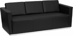 HERCULES Trinity Series Contemporary Black Leather Sofa with Stainless Steel Base [ZB-TRINITY-8094-SOFA-BK-GG]