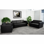 HERCULES Trinity Series Reception Set in Black with Free Coffee and End Table [ZB-TRINITY-8094-SET-BK-GG]