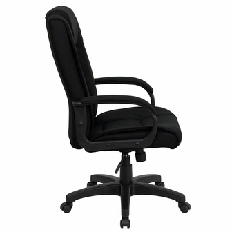 high back black fabric executive swivel chair with arms, go-5301b