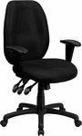 High Back Black Fabric Multifunction Ergonomic Executive Swivel Chair with Adjustable Arms [BT-6191H-BK-GG]