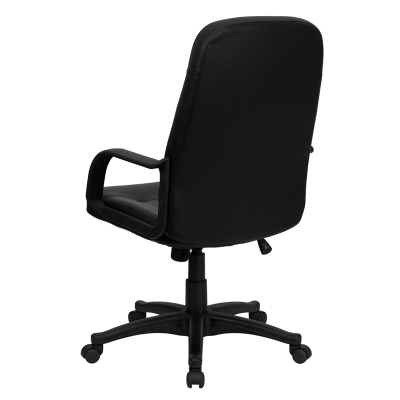 High Back Black Glove Vinyl Executive Swivel Chair with