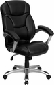 High Back Black Leather Contemporary Executive Swivel Chair with Arms