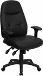 High Back Black Leather Multifunction Executive Swivel Chair with Adjustable Arms [BT-2350-BK-GG]