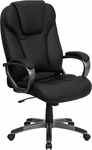High Back Black Leather Executive Swivel Chair with Arms [BT-9066-BK-GG]