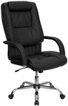 High Back Black Leather Executive Swivel Chair with Arms [BT-9130-BK-GG]