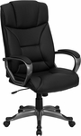High Back Black Leather Executive Swivel Chair with Arms [BT-9177-BK-GG]