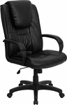 High Back Black Leather Executive Swivel Chair with Arms [GO-5301BSPEC-CH-BK-LEA-GG]