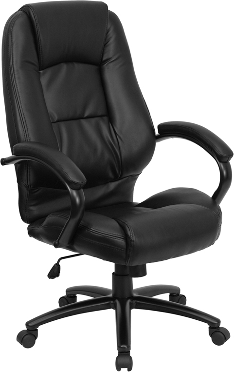 high back black leather executive swivel chair with arms, go-710