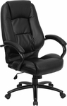High Back Black Leather Executive Swivel Chair with Arms [GO-710-BK-GG]