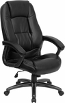 High Back Black Leather Executive Swivel Chair with Arms [GO-7145-BK-GG]