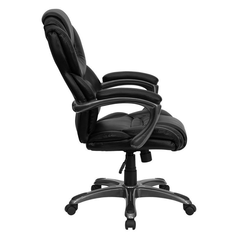 High Back Black Leather Executive Swivel Chair with Arms GO 901