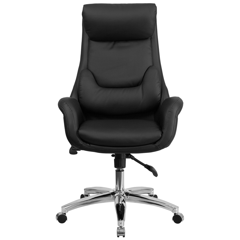 high back black leather executive swivel chair with lumbar pillow and