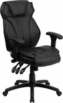 High Back Black Leather Multifunction Executive Swivel Chair with Lumbar Support Knob with Arms [BT-9835H-GG]