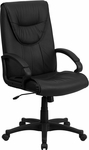 High Back Black Leather Executive Swivel Chair with Arms [BT-238-BK-GG]