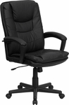 High Back Black Leather Executive Swivel Chair with Arms [BT-2921-BK-GG]