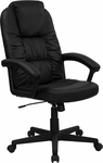 High Back Black Leather Executive Swivel Chair with Arms [BT-983-BK-GG]