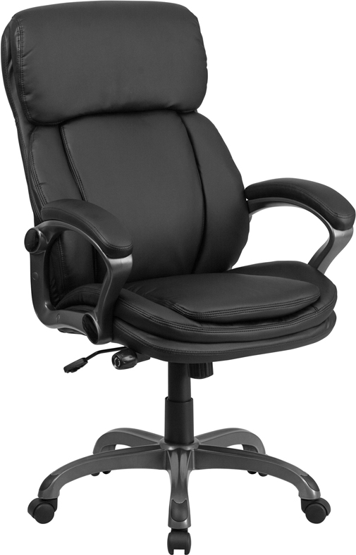 High Back Black Leather Executive Swivel Chair With Lumbar