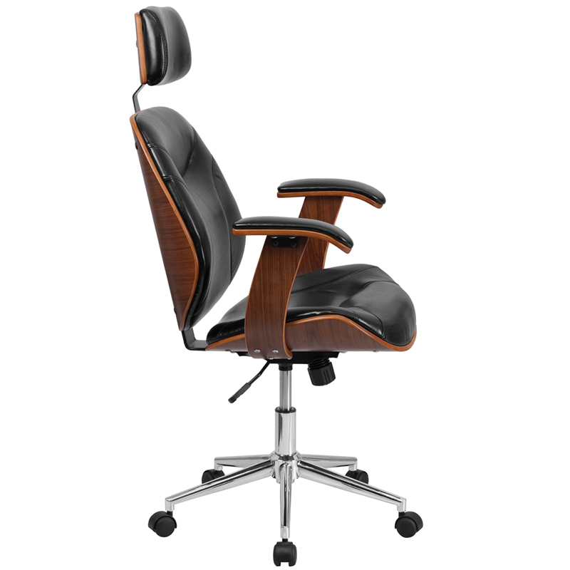 PREV NEXT - High Back Black Leather Executive Wood Swivel Chair With Arms, SD