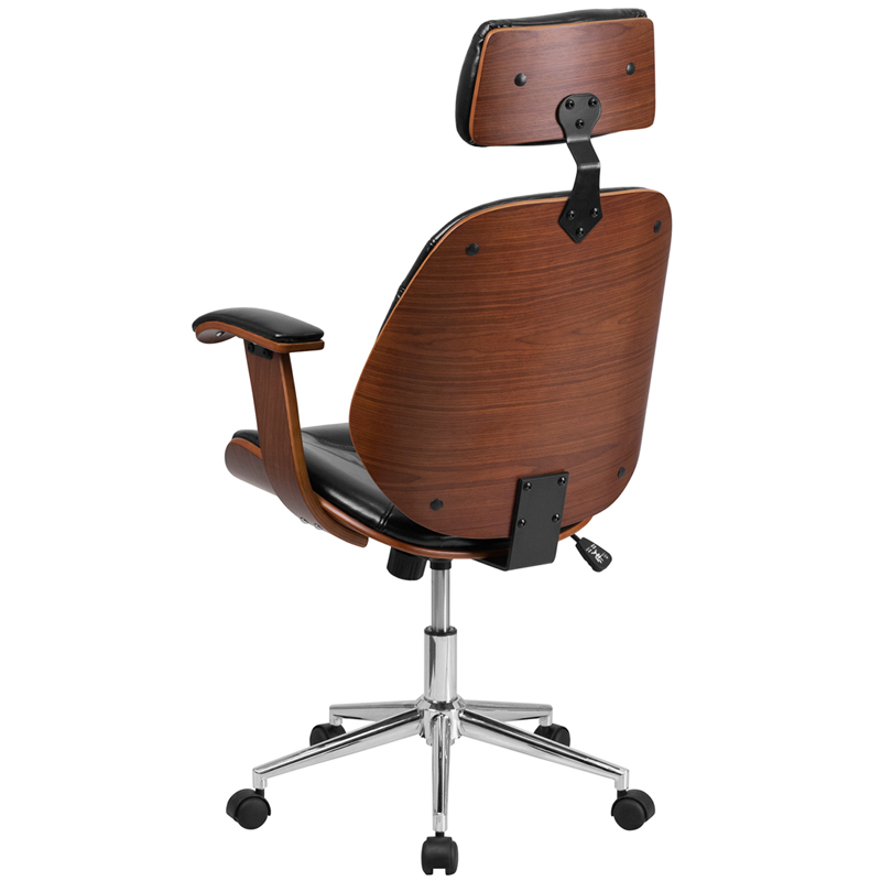 Wooden Desk Chair ~ High back black leather executive wood swivel chair with