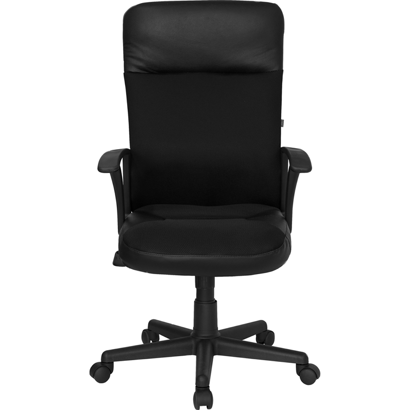 high back black leather and mesh executive swivel chair with arms
