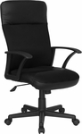 High Back Black Leather and Mesh Executive Swivel Chair with Arms [CP-A142A01-GG]