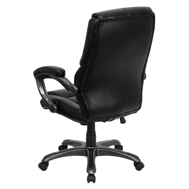 High Back Black Leather Overstuffed Executive Swivel Chair with