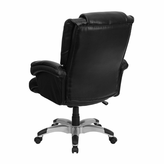 High Back Black Leather OverStuffed Executive Swivel Chair With Fully Upholst