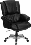 High Back Black Leather OverStuffed Executive Swivel Chair with Fully Upholstered Arms [GO-958-BK-GG]