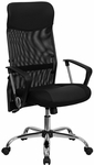 High Back Black Leather and Mesh Swivel Task Chair with Arms [BT-905-GG]