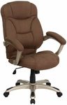 High Back Brown Microfiber Contemporary Executive Swivel Chair with Arms [GO-725-BN-GG]