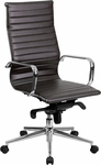 High Back Brown Ribbed Leather Executive Swivel Chair with Knee-Tilt Control and Arms [BT-9826H-BRN-GG]