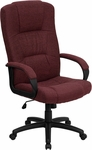 High Back Burgundy Fabric Executive Swivel Chair with Arms [BT-9022-BY-GG]