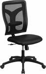 Galaxy High Back Black Designer Back Swivel Task Chair with Leather Seat [WL-F062SYG-LEA-GG]