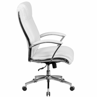 high back designer white leather executive swivel chair with