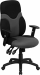 High Back Ergonomic Black and Gray Mesh Swivel Task Chair with Adjustable Arms [BT-6001-GYBK-GG]