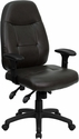 High Back Espresso Brown Leather Multifunction Executive Swivel Chair with Adjustable Arms