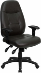 High Back Espresso Brown Leather Multifunction Executive Swivel Chair with Adjustable Arms [BT-2350-BRN-GG]